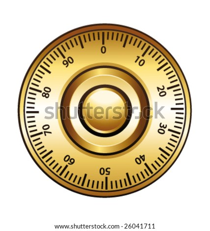 Golden combination dial lock vector illustration - stock vector
