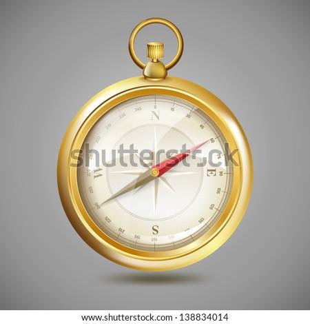 golden compass realistic vector - stock vector