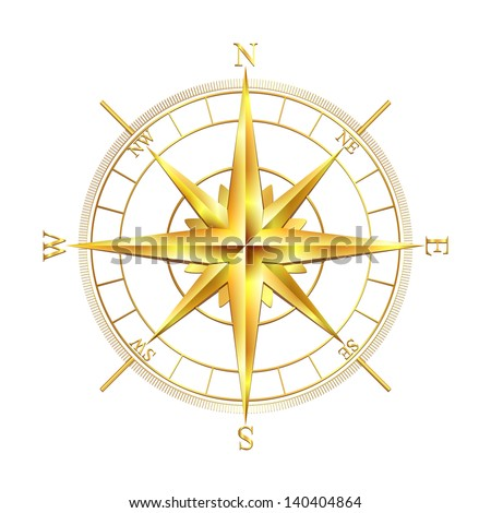 Golden compass rose, isolated on white background. Vector illustration