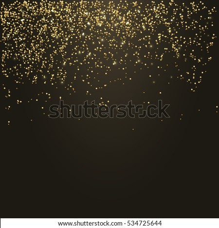 Golden confetti - Gold glitter texture on a black background - grainy abstract texture - Small particles falling
