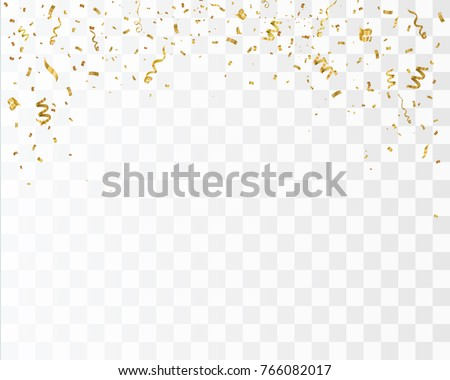 Golden confetti isolated. Festive background. Vector illustration