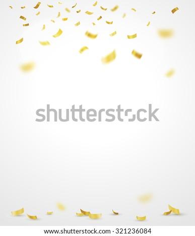 Golden confetti. Vector background - stock vector