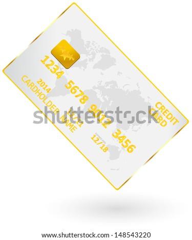 Golden Credit Card - stock vector