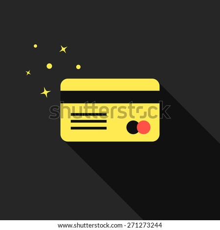 golden credit card with long shadow. concept of e-commerce, loan, purchase, security code, customer, consumer, deal. isolated on black background. flat style modern design eps10 vector illustration - stock vector