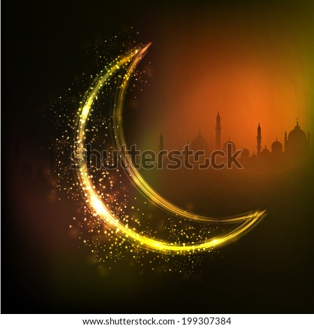 Golden crescent moon on mosque silhouetted shiny abstract background for holy month of Ramadan Kareem.  - stock vector