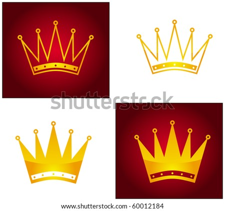 Golden crown, abstract illustration on white and red background