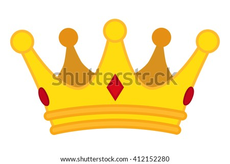 Golden crown cartoon icon. Vector jewelry for monarch. - stock vector