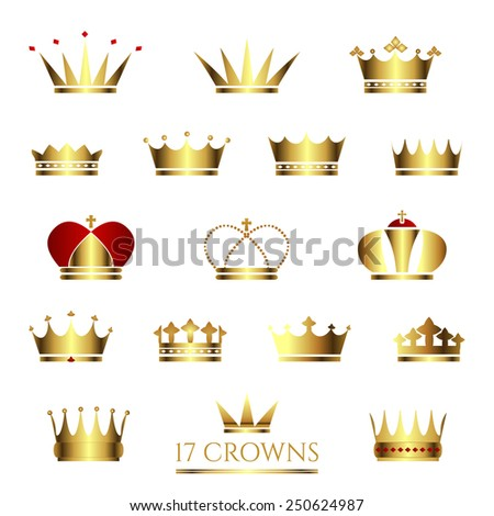 Golden Crown icon set. Crown vector illustrations. Business sign or product labeling element templates, part of corporate identity. Simple & detailed Crown icons. Vector design is layered & editable.