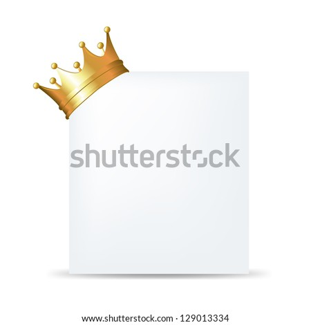 Golden Crown On Blank Card With Gradient Mesh, Isolated On White Background, Vector Illustration - stock vector
