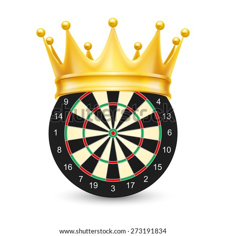 Golden crown on Dart Board isolated on white background - stock vector