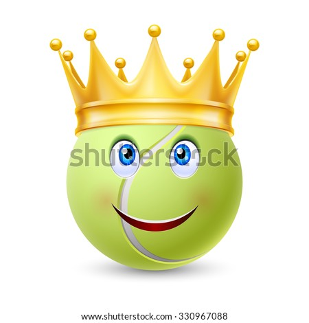 Golden crown on the ball for tennis with smiling face - stock vector