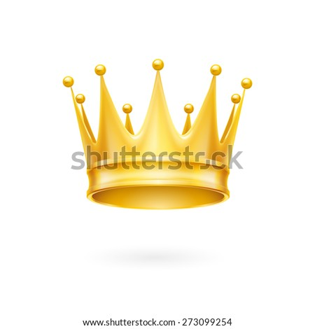 Golden crown royal attribute isolated on a white background