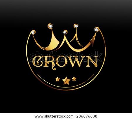 Golden crown, vector - stock vector