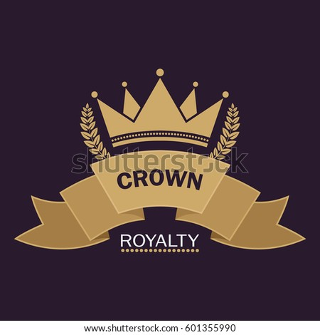 Golden Crown Vector Line Art Logo Stock Vector Royalty Free