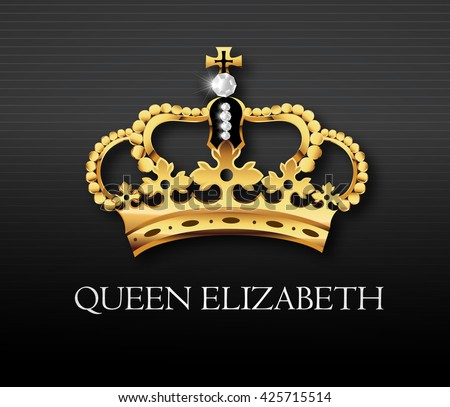 Golden crown with Queen Elizabeth text , vector