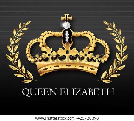 Golden crown with Queen Elizabeth text, vector - stock vector