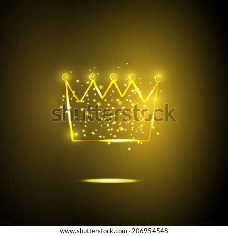 Golden crown with sparkles, vector illustration