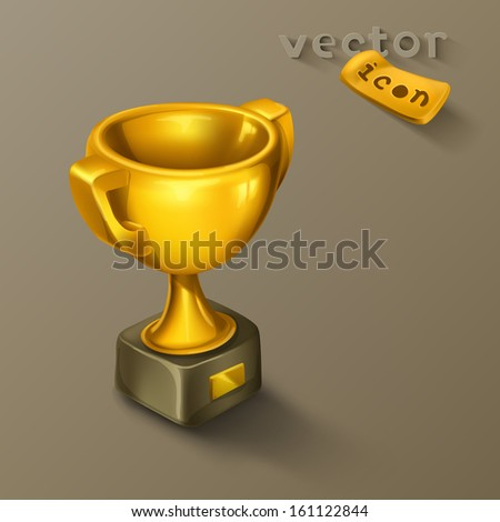 Golden cup icon - stock vector