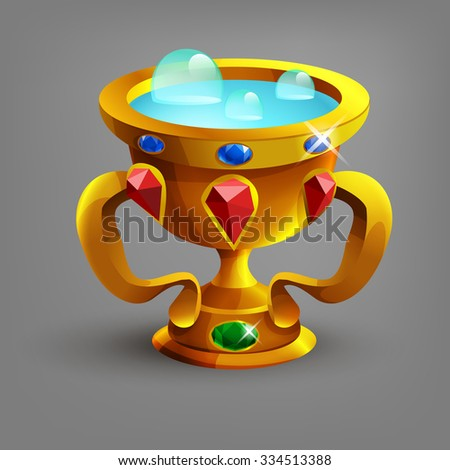 Golden cup or goblet with blue liquid. Vector illustration. - stock vector
