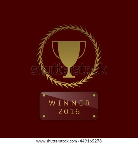 Golden cup. Winner. Champion. Number one. Trophy. Golden award. Glass nameplate for simple text