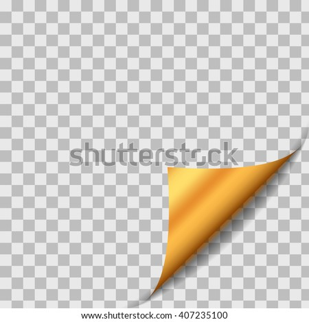 Golden Curled Paper Sheet Corner With Shadow. Design Element On Transparent Background. Page Turn. Vector - stock vector