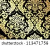 Golden damask background - stock vector