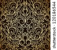 Golden damask seamless pattern on dark background - stock vector