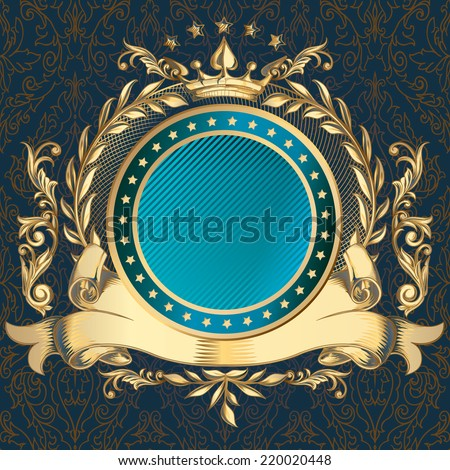 Golden decorative emblem - stock vector