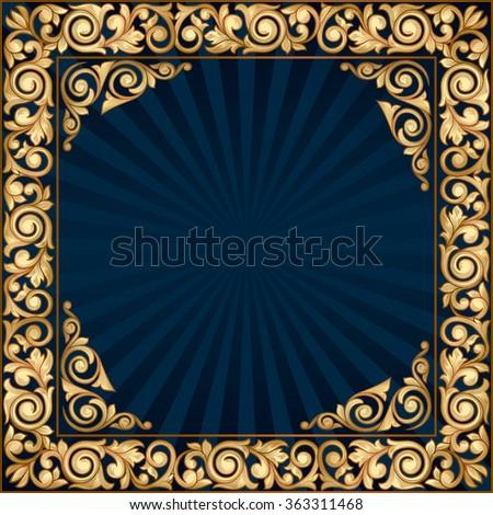 Golden decorative vintage frame - stock vector