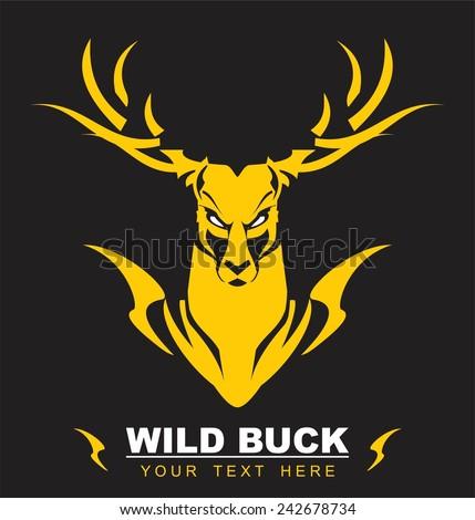 Golden Deer - stock vector