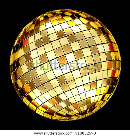 Golden Disco Ball on a black background. Vector Illustration EPS10
