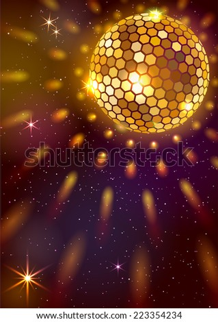 Golden Disco Ball. Vector background. EPS 10. Masks are used, so you can move the ball and lights.  Smartly grouped and layered. - stock vector