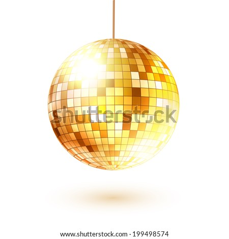 Golden disco ball. Vector illustration. Isolated.