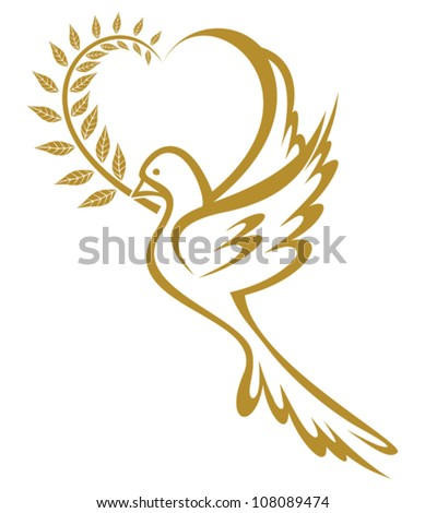 Golden Dove of Peace - stock vector