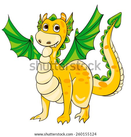 Golden Dragon with green wings. Vector illustration - stock vector