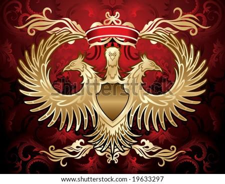 golden eagle shield - stock vector
