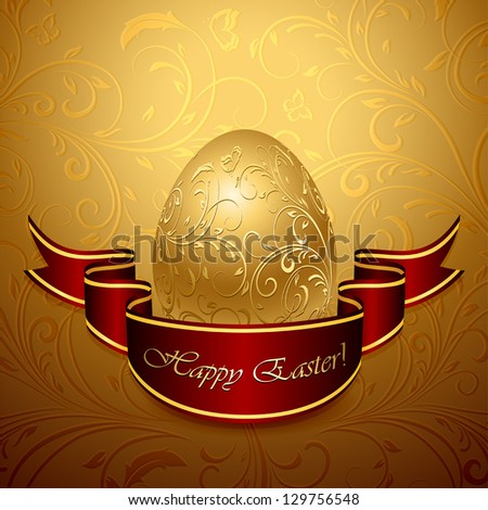 Golden Easter egg with decorative elements and ribbon, illustration. - stock vector