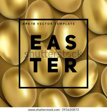 Golden easter eggs background with frame for your text. Vector template.