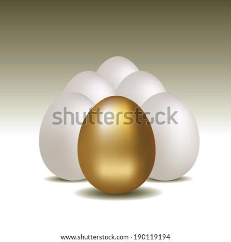 Golden egg concept background. Vector illustration - stock vector