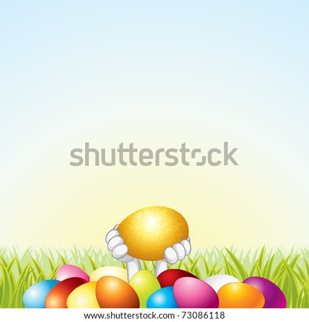 Golden Egg in the Paws of the Rabbit, vector easter card with space for your text or design - stock vector