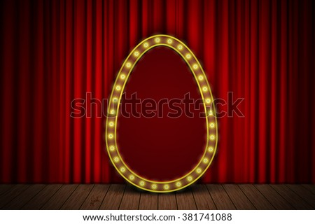 Golden egg with light bulbs on red velvet curtain on stage. Eps10 vector easter background for your design - stock vector