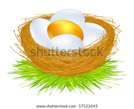 Golden eggs, vector illustration - stock vector