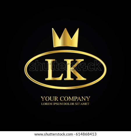 Stock Vector Golden Elegant Lk Initial Letter With Crown Typography Design Logotype For Brand And Company Mg Symbol Shutter