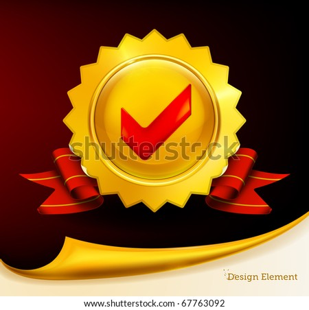 Golden emblem with check mark, eps10 - stock vector