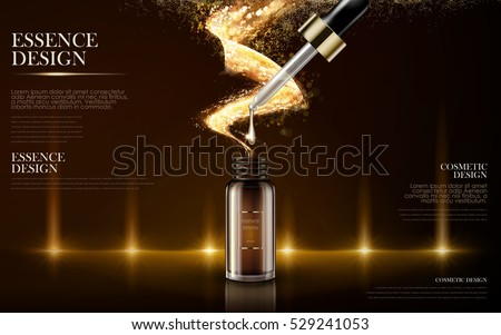 golden essence skin care contained in bottle, warm light background in 3d illustration