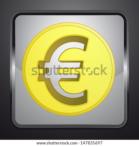 golden euro coin square button vector illustration