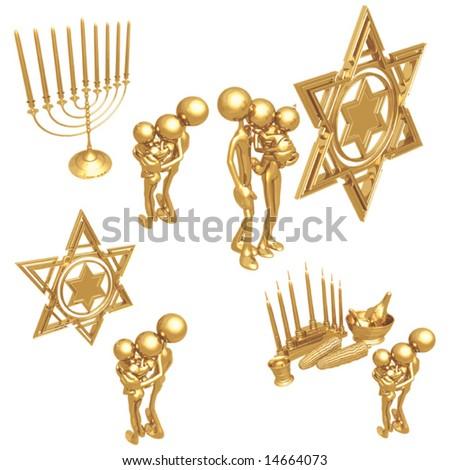 Golden Family Holiday Celebration - stock vector