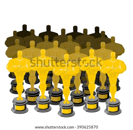 Golden figurine. Golden statuette. Many gold figures. Collection of gold statuette - stock vector