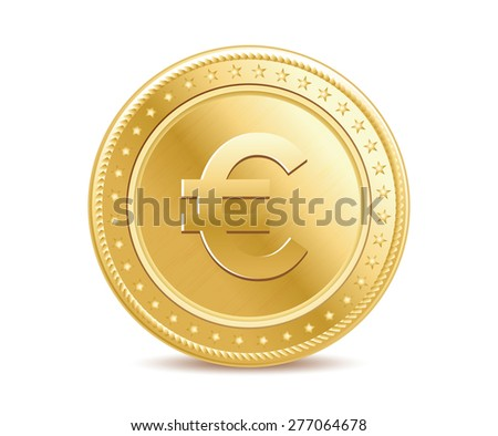 Golden finance isolated euro coin on the white background - stock vector