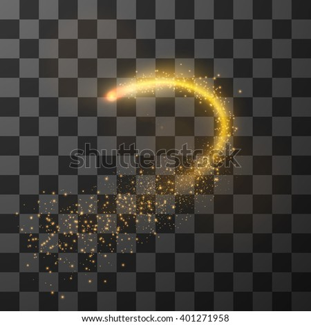 Golden fireball with dust particle trail design element, Eps10. - stock vector